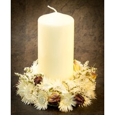 Helichrysum Flower Candle Holder With Pillar Candle