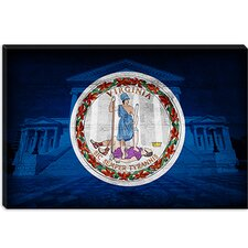 <strong>iCanvasArt</strong> Virginia Flag, State Capitol with Cracks Canvas Wall Art