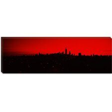 <strong>iCanvasArt</strong> Silhouette of Buildings at Sunrise, Chicago, Illinois Canvas Wall Art
