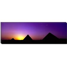 <strong>iCanvasArt</strong> Silhouette of Pyramids at Dusk, Giza, Egypt Canvas Wall Art