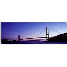<strong>iCanvasArt</strong> Silhouette of Suspension Bridge Across a Bay, Golden Gate Bridge, San Francisco Bay, San Francisco, California Canvas Wall Art
