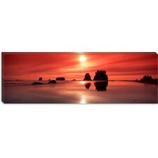 Silhouette of Sea Stacks at Sunset, Second Beach, Olympic National Park, Washington State Canvas Wall Art