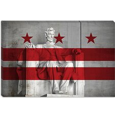 <strong>iCanvasArt</strong> Washington, D.C, Flag, Lincoln Memorial Canvas Wall Art