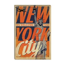 <strong>iCanvasArt</strong> We Welcome You - New York City, New York Canvas Wall Art