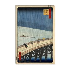 "<strong>iCanvasArt</strong> ""Sudden Shower Over Shin-Ohashi Bridge and Atake, 1857"" Canvas Wall Art by Utagawa Hiroshige l"