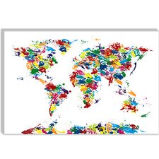 "<strong>iCanvasArt</strong> ""World Map Paint Drops"" Canvas Wall Art by Michael Thompsett"