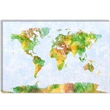 "<strong>iCanvasArt</strong> ""World Map (Green)"" Canvas Wall Art by Michael Thompsett"