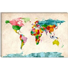 "<strong>iCanvasArt</strong> ""World Map Watercolors III"" Canvas Wall Art by Michael Thompsett"