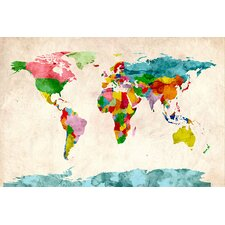 'World Map Watercolors III' by Michael Tompsett Painting Print on Canvas