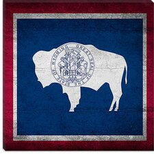 <strong>iCanvasArt</strong> Wyoming Flag, Cracks Canvas Wall Art