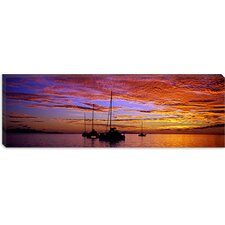 Sailboats in the Sea, Tahiti, French Polynesia Canvas Wall Art
