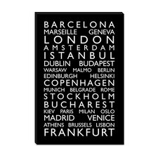 "<strong>iCanvasArt</strong> ""World Cities Bus Roll II"" Canvas Wall Art by Michael Thompsett"