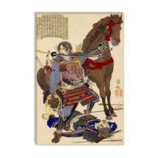 <strong>iCanvasArt</strong> Samurai and Horse Japanese Woodblock Canvas Wall Art
