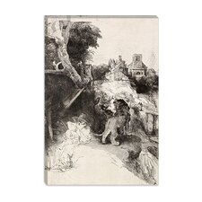 "<strong>iCanvasArt</strong> ""Saint Jerome Reading in an Italian Landscape"" Canvas Wall Art by Rembrandt"