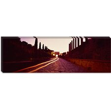 <strong>iCanvasArt</strong> Ruins Along a Road at Dawn, Roman Forum, Rome, Lazio, Italy Canvas Wall Art