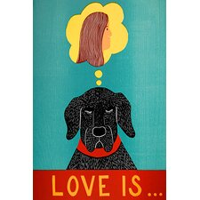 Love Is Dog Girl Black Canvas Print Wall Art