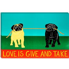Love is Give and Take by Stephen Huneck Graphic Art on Canvas in Yellow
