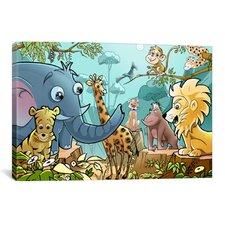 Jungle Cartoon Animals Children Art Canvas Print Wall Art
