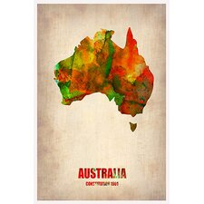 Naxart Australia Watercolor Map by Naxart Graphic Art on Canvas