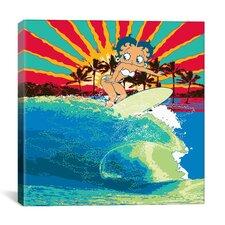 Betty Boop Surfer Canvas Wall Art