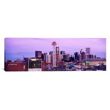 Panoramic Building Lit up at Dusk, Denver, Colorado Photographic Print on Canvas