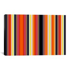 Striped Burning Rassberyy Graphic Art on Canvas