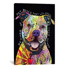 Beware of Pit Bulls by Dean Russo Graphic Art on Canvas