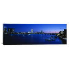 Panoramic Buildings Lit Up at Dusk, Charles River, Boston, Massachusetts, Photographic Print on Canvas