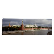 Panoramic Buildings along a River, Grand Kremlin Palace, Moskva River, Moscow, Russia Photographic Print on Canvas