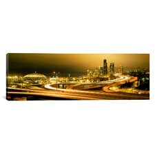 Panoramic Buildings Lit up at Night Seattle, Washington Photographic Print on Canvas