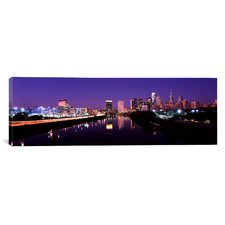 Panoramic Buildings Lit up at the Waterfront Schuylkill River, Pennsylvania Photographic Print on Canvas