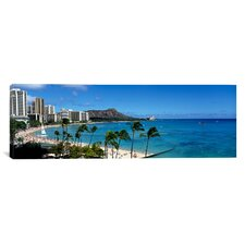 Panoramic Buildings on the Beach Waikiki Beach, Honolulu, Hawaii Photographic Print on Canvas