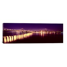 Panoramic Bridge Lit Up at Night, Bay Bridge, San Francisco Bay, California Photographic Print on Canvas