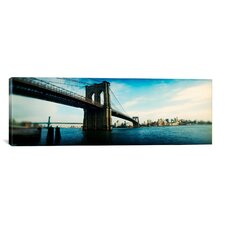 Panoramic Brooklyn Bridge, East River, Brooklyn, New York City, New York Photographic Print on Canvas