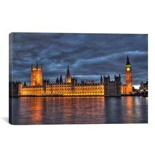 Political British Parliament and Big Ben Clock Tower Photographic Print on Canvas