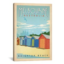 Brighton Beach - Melbourne, Australia by Anderson Design Group Vintage Advertisement on Canvas