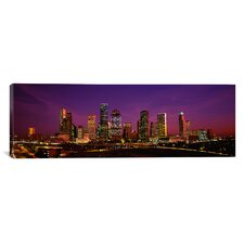 Panoramic Buildings Lit up at Night, Houston, Texas Photographic Print on Canvas