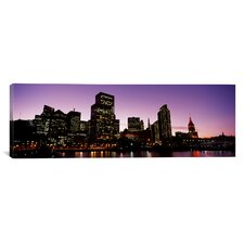 Panoramic Buildings at the Waterfront Lit up at Dusk, San Francisco, California Photographic Print on Canvas