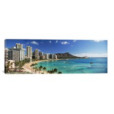 Panoramic Buildings along the Coastline, Diamond Head, Waikiki Beach, Oahu, Honolulu, Hawaii Photographic Print on Canvas