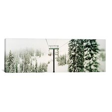 Panoramic Chair Lift and Snowy Evergreen Trees at Stevens Pass, Washington State Photographic Print on Canvas