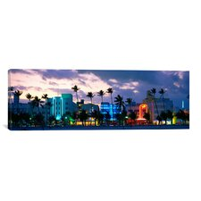 Panoramic Buildings Lit Up at Dusk, Ocean Drive, Miami Beach, Florida, Photographic Print on Canvas
