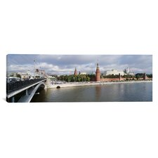 Panoramic Bolshoy Kamenny Bridge, Grand Kremlin Palace, Moskva River, Moscow, Russia Photographic Print on Canvas