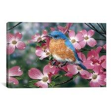 Decorative Art 'Bluebird / Pink Dogwood' by William Vanderdasson Graphic Art on Canvas