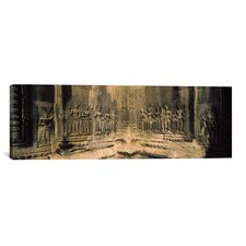 Panoramic Bas Relief in a Temple in Angkor Wat, Cambodia Photographic Print on Canvas