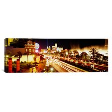 Panoramic Buildings in a City Lit Up at Night, Las Vegas, Nevada Photographic Print on Canvas
