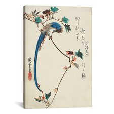 Ando Hiroshige 'Blue Magpie on The Maple Branch' by Utagawa Hiroshige l Graphic Art on Canvas
