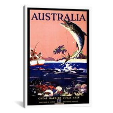 Australia (Great Barrier Coral Reef) Vintage Advertisement on Canvas