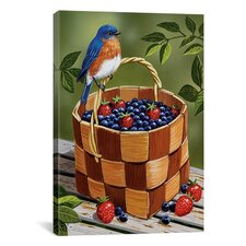 'Blueberry Basket' by William Vanderdasson Graphic Art on Canvas