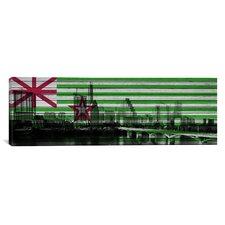Austin, Texas - Grunge Wood Boards Panoramic Graphic Art on Canvas