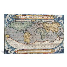 Antique Map of the World 1570 Graphic Art on Canvas